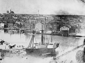 Baltimore Harbor from Federal Hill in 1849 with the Washington Monument in the Background - Public Domain