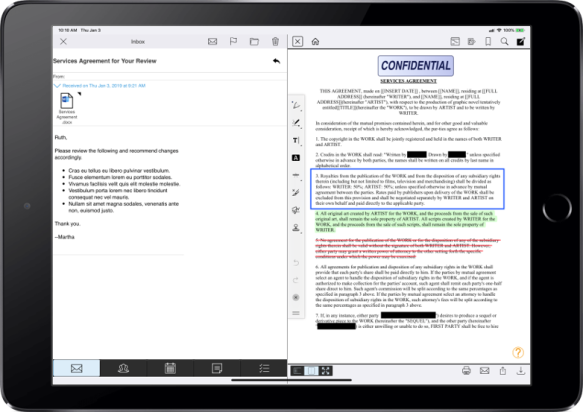 LINK in-app email, document comparison, and annotation